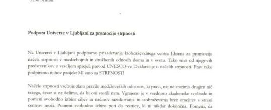 Univerza v Ljubljani pisno podprla projekt Mi smo za strpnost!